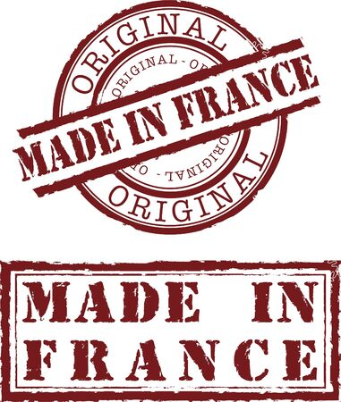Vector made in france stamp with red ink