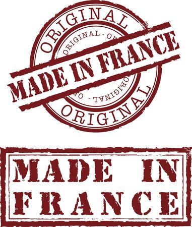 francia: Vector en sello de Francia con tinta roja  Vectores