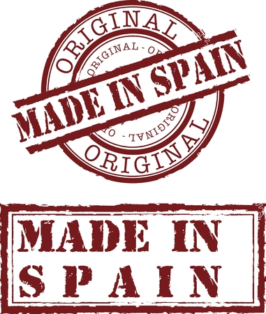 made: Vector made in spain stamp with red ink