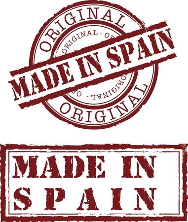 Vector realizado en España sello con tinta roja  Ilustración de vector