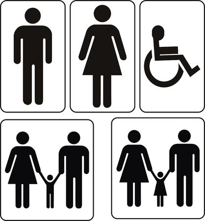vector mannelijke en vrouwelijke teken