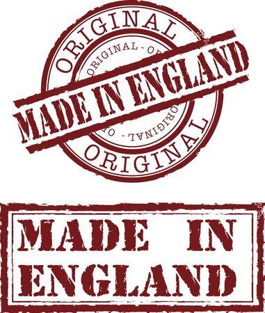 Vector gemaakt in Engeland stempel met rode inkt