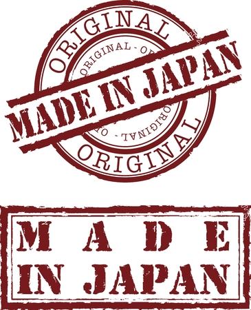 Vector made in japan stamp with red ink