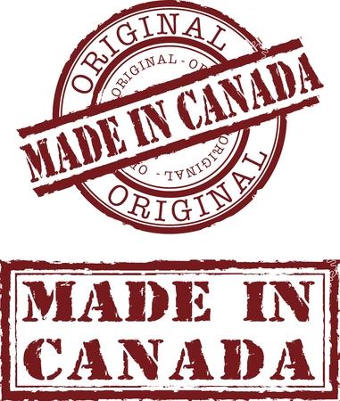 Vector gemaakt in canada stempel met rode inkt