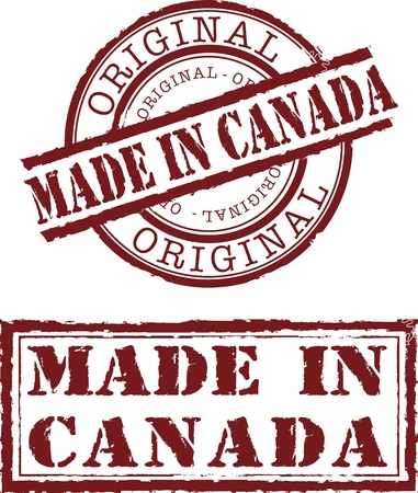 Vector made in canada stamp with red ink