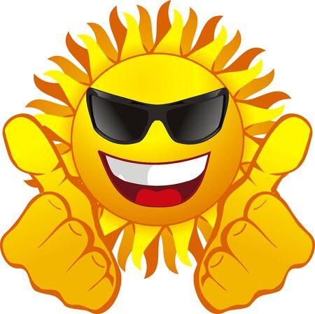 sun tan: Sol feliz con gafas