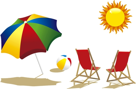 deckchair with umbrella, deckchair and beach ball Vector