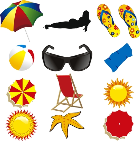 summer beach items isolated on withe