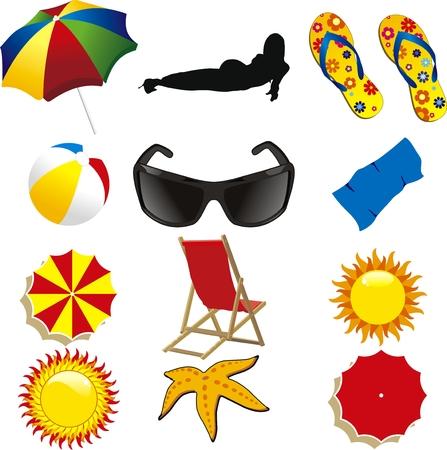zomer strand items geïsoleerd op withe