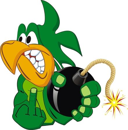 loros verdes: Caricatura de loro enojado aislada con bomba