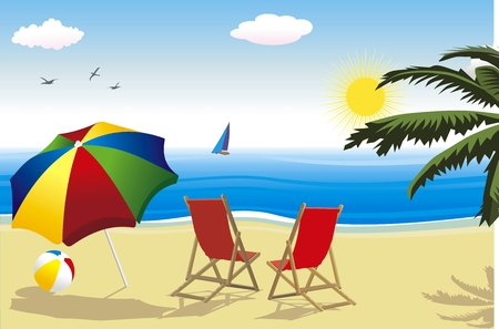 summer landscape with sun and beach Stock Illustratie