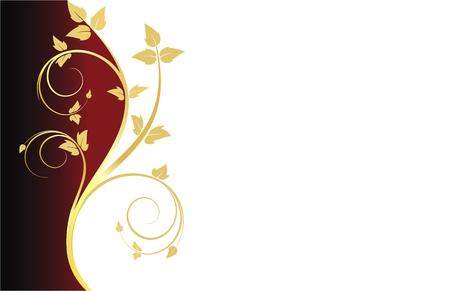 Visite kaartje met goud bloem