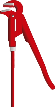 press nuts: illustration of a pipe wrench. Isolated
