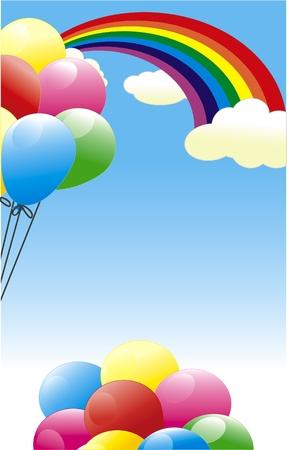 Rainbow and balloon. Party card Stock Vector - 6747991