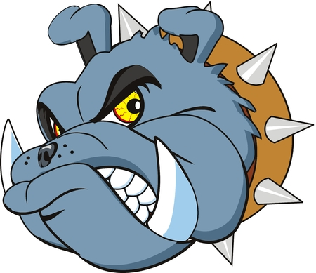 angry dog: Bulldog head very angry. Isolated Illustration