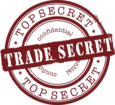 trade secret stamp with red ink. Isolated