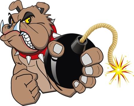 A Cartoon bomb bulldog Vector