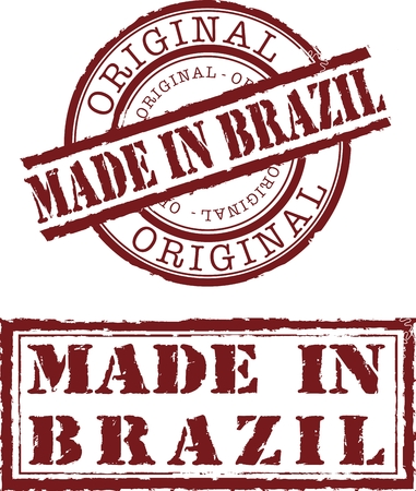 Vector made in brazil stamp with red ink