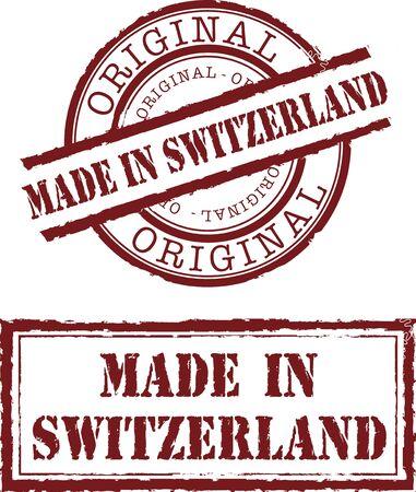 gemaakt in Zwitserland stempel met rode inkt