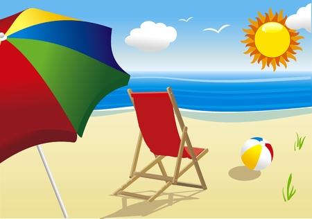 deckchair: summer landscape with sun and beach Illustration