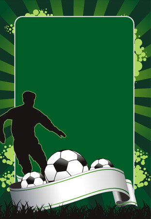 banni�re football: banni�re de soccer avec les balles.  Illustration