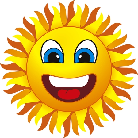 withe:  smiling sun. Isolated on withe background Illustration
