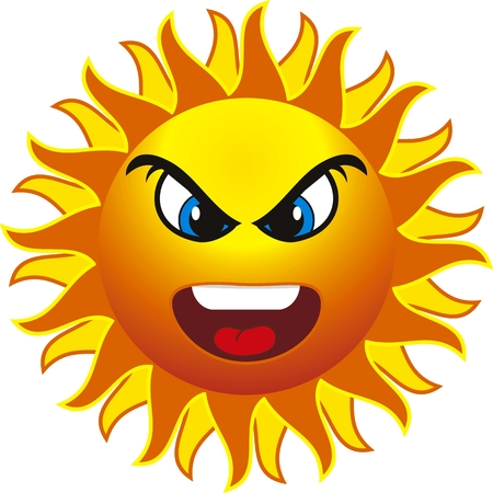 suntan: angry sun. isolated on withe background