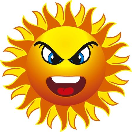 sun tan: Sol enojado. aislado en el fondo de la contundencia