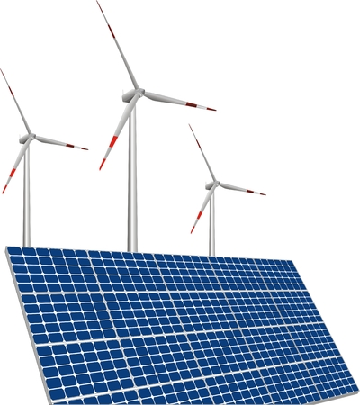 illustration of solar panels, wind turbines