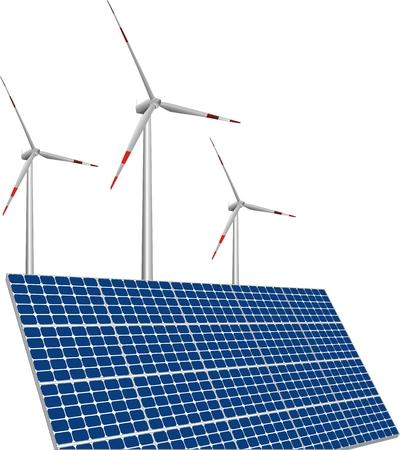 photoelectric: illustration of solar panels, wind turbines