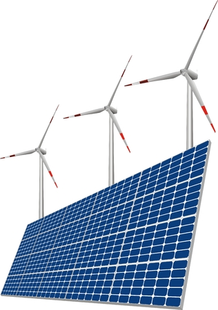 llustration of solar panels, wind turbines