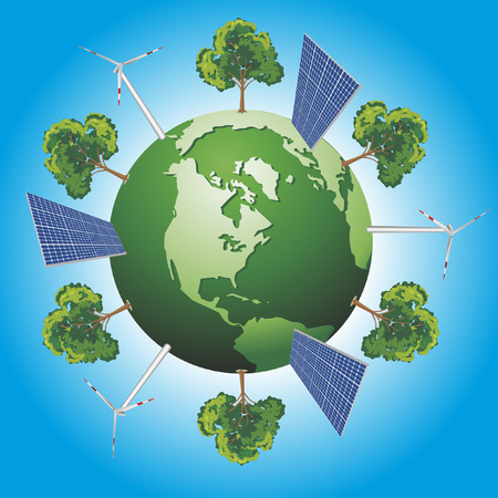 Green world concept with windturbine, solar panel and tree Vector