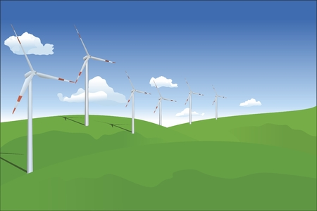 windfarm: wind turbine on landscape Illustration