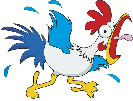 funny cartoon chicken isolated on white background 일러스트