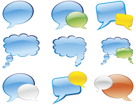 chat box: bubble chat icon. Aqua style Illustration