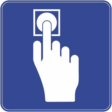 Druk op de knop. Open de deur  Stock Illustratie
