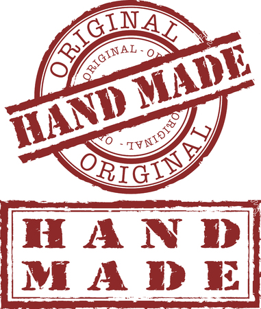 old hand: hand made stamp Illustration