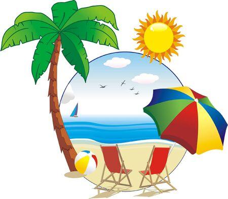 Palm on island with sun Stock Vector - 9609369