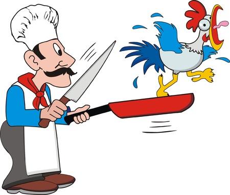 pollo caricatura: Cook y pollo Vectores