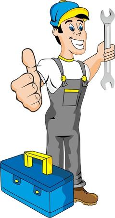 mecanico: Dibujos animados mec�nico con herramientas Vectores
