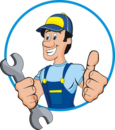 repair man: Cartoon mechanic with tools