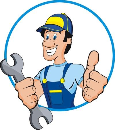 mekanik: Tecknad mekaniker med verktyg