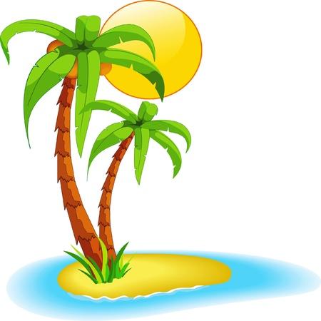 식물상: 섬에 야자수 일러스트