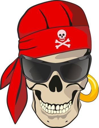 skeleton skull: skull with bandana