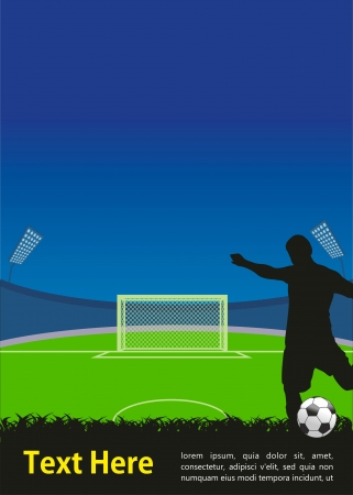 man in field: soccer poster