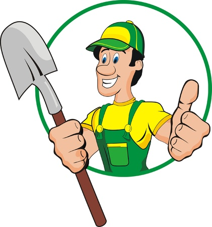 shovel man cartoon Vector