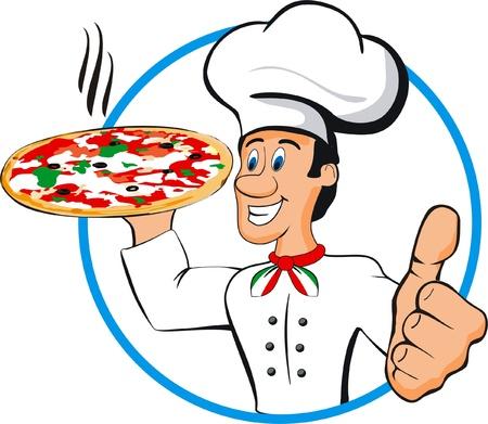 Chef pizza geïsoleerde Stockfoto - 19834589