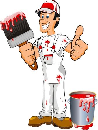 artesano: Pintor con un cepillo Vectores
