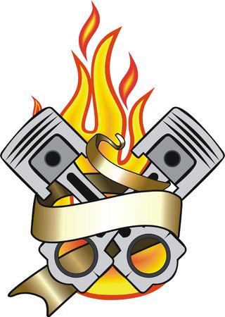 pistones: pistones del motor, la bandera y la llama del tatuaje Vectores