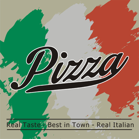 restaurante italiano: Diseño de la caja de pizza Vintage